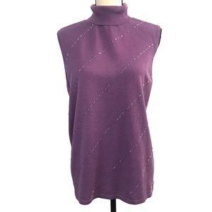 Lane Bryant Lavender Beaded Sleeveless Sweater
